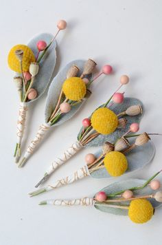 Dried+Floral+Boutonnieres++Craspedia+by+thebreadandbutterfly,+$12.50