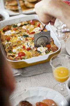 Tomato-Cheddar Strata with Broccoli