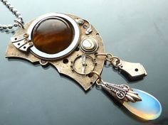 Steampunk Big Eye Crying Industrial Mechanical pendant with tigereye opal glass gears watch parts