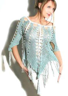 блуза-пончо крючком ... схема и описание
