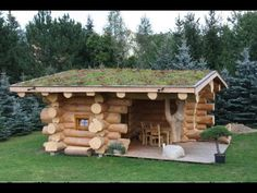 This adorable blockhouse weekender log cabin is the perfect small cabin retreat for weekend getaways . Small Log Homes, Small Log Cabin, Tiny House Cabin, Log Cabin Homes, Tiny House Design, Sauna House, Building A Small House, Wooden Architecture, Wood Stone