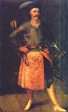 Fragment -  tablica Gołuchowska, ok. 1620r. Towarzysz chorągwi pancernej. Comrade armored with stencil Polish costumes of years (1610-1630)
