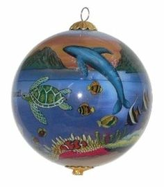 Collectible Hawaiian Christmas ornament showing honu sea turtles, dolphins, whale and tropical fish enjoying the magnificent Hawaiian sunset. Painted Christmas Ornaments, Hand Painted Ornaments, Christmas Balls, Christmas Decorations, Holiday Decor, Hawaiian Sunset, Nautical Christmas, Globe Ornament, Valentine Gifts