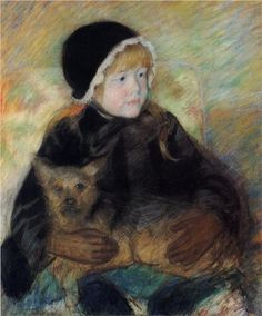 Mary Cassatt (American:1844–1926) - Elsie Cassatt Holding a Big Dog - 1880
