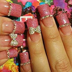 Love my pink glittery nails!