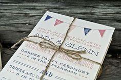 wedding invitation with bunting banner   My Favorite Summer Wedding Stationery Trends: Chevron Stripes ...