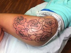 Hip/thigh. Rose outline: Teamtatted Forever Art Hip Thigh Tattoos ...