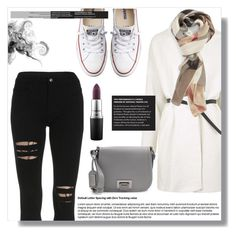 """""""Untitled #1351"""" by andreastoessel ❤ liked on Polyvore featuring Topshop, Converse, Burberry, Badgley Mischka and MAC Cosmetics"""