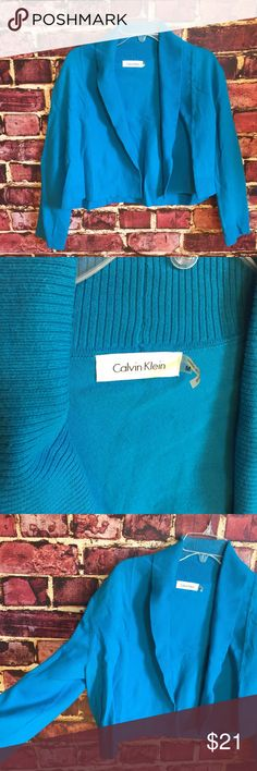 💜Calvin Klein aqua bolero shrug cardigan sweater Size medium. Cotton, nylon. NWT                                                                                           💟Fast 1-2 day shipping 💟Reasonable offers accepted 💟Purchase 3 or more items & get a special bundle rate!  💟Smoke-free home Calvin Klein Sweaters Shrugs & Ponchos