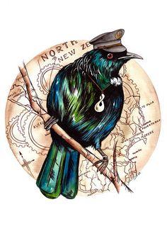 The Traveler Art Print by Fiona Clarke - X-Small Bird Illustration, Illustration Styles, Illustrations, Aboriginal Art Animals, Tui Bird, New Zealand Art, Nz Art, Maori Art, Kiwiana