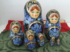 7 Piece Russian Nesting Dolls, Nesting Dolls 7, Russian Stacking Dolls Blue and…