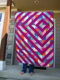 """Quilt from """"i don't do dishes..."""".  Made with 2 charm packs and an equal amount of solid. Love it!  #lipari"""