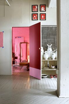 Not my color, but I love the concept of a single dazzlingly colorful room inside an otherwise clean and elegant home.