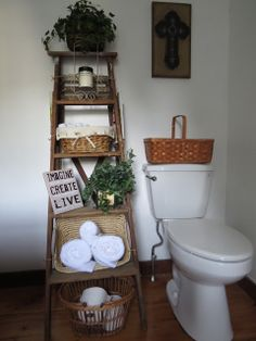 The Long Awaited Home: Vintage Ladder in the Bathroom