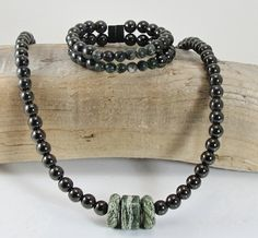 Women's Magnetic Green Kambaba Jasper Necklace and Bracelet Set  Magnetite Jewelry Brazilian Magnetite Lodestone drug free relief head neck upper back shoulder pain Magnetic Jewlery | Magnetite Jewelry