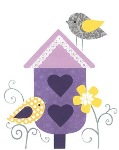 Bird Nursery Art Birdhouse FlowersPurple Kids by PeanutAndButtons, $15.00