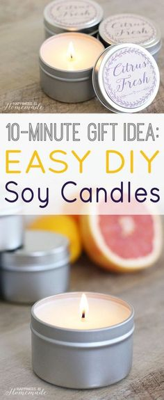 The best DIY projects & DIY ideas and tutorials: sewing, paper craft, DIY. Diy Candles Ideas & Wax melts Easy 10 Minute Gift Idea: DIY Soy Candles - whip up a batch and keep them on-hand for unexpected birthdays, holidays and Homemade Candles, Scented Candles, Diy Candles Soy, Making Candles, Diy Vegan Candles, Diy Candle Labels, Soy Candle Making, Yankee Candles, Jar Candles