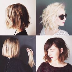 : Photos of today's bob hair styles - lightly mousse, use a curling iron to make long curls, and then scrunch waves for messy look