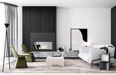 Architecture and Interiors Render Styling Creative Direction Living Room Goals, Living Area, Living Spaces, Studios, Loft, Fireplace Design, Interior Design Studio, Apartment Design, Living Room Designs