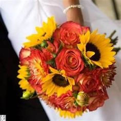Sunflower and rose wedding bouquet. The Knot Sunflower Wedding Centerpieces, Sunflower Bouquets, Fall Bouquets, Fall Wedding Bouquets, Fall Wedding Flowers, Wedding Flower Arrangements, Fall Flowers, Sunflower Weddings, Autumn Wedding