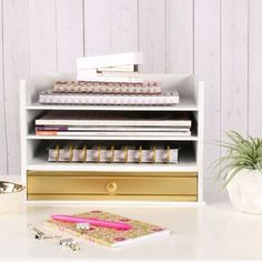 Gracie Oaks Viviana Desktop File Folder Organizer with 2 Pockets and 2 Drawers   Wayfair Desk Organizer Set, Wooden Desk Organizer, File Organiser, File Folder Organization, Desktop Organization, Metal Drawers, Desk With Drawers, Construction Paper Storage, Desktop Drawers