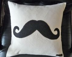 Mustache Throw Pillow, Black Moustache on Natural Canvas, Toss Pillow, Cushion Cover, Guy Man Gift, Couch Bed Accent 12x18. $45.00, via Etsy.