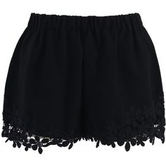 Chicwish Flower Crochet Trimmed Crepe Shorts in Black ($34) ❤ liked on Polyvore featuring shorts, bottoms, black, flower shorts, elastic waistband shorts, crochet trim shorts and elastic waist shorts