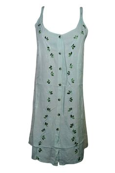 Mogul Interior - Mogul Womens Shift Dress Floral Embroidered Button Front Blue Tank Dresses L - Walmart.com