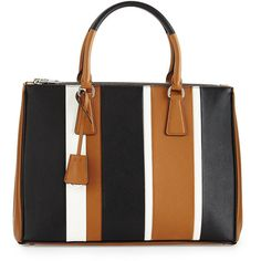 Prada Saffiano Baiadera Striped Galleria Tote Bag ($2,950) ❤ liked on Polyvore featuring bags, handbags, tote bags, handbags totes, zippered tote bag, tote hand bags, tote purse and hand bags