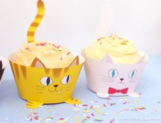 Printable Cupcake Wrappers for Kids Parties | Mr Printables cat cupcakes, cat decor