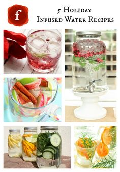 Pretty & Healthy!! 5 Holiday Infused Water Recipes #hydrate #healthy #party