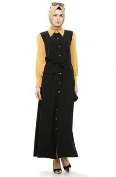 Betül Selvi Elbise-Lacivert Hardal BS1005-1755