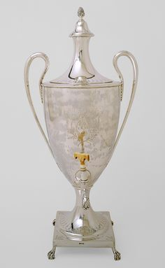 Neoclassic style sterling silver hot-water urn with ivory spigot and claw and ball feet,  by Paul Revere, Boston, c1791 ( Metropolitan Museum of Art)