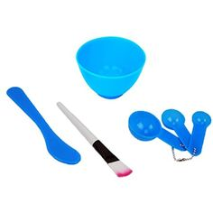 Rosallini Packed 4 In 1 Facial DIY Mask Bowl Brush Spoon Tools Set Blue -- Check out this great product. (This is an affiliate link) #SkinCare