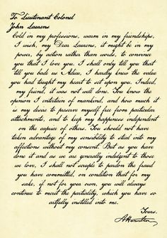 Hamilton's Letter to Laurens - $23 - Gifts for Hamilton Fans!