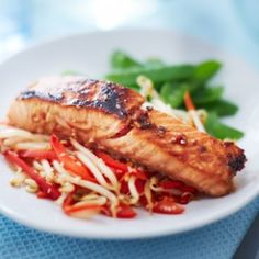 For a fast and healthy midweek dinner idea, try this speedy Asian-inspired salmon recipe with colourful veggie slaw. See more Salmon recipes at Tesco Real Food. No Calorie Foods, Low Calorie Recipes, Healthy Recipes, Healthy Meals, Salmon Recipes, Seafood Recipes, Cooking Recipes, Dinner Recipes, Chinese New Year Food