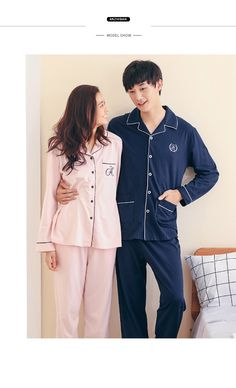 Anzhiban 2017 New Arrival Spring Couple Pajamas Sets Suit knitted Cotton  Long-Sleeved Sleepwear Casual Lovers Home Nightgown d9e39eff1