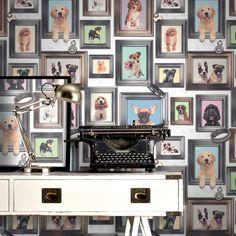 Rasch Puppy Love Dogs In Frames Pattern Picture Frame Motif Wallpaper 272703 Quirky Wallpaper, Animal Print Wallpaper, Framed Wallpaper, Paper Wallpaper, Wallpaper Ideas, Wallpaper Murals, Wallpaper Designs, Motif Photo, Graffiti