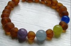 Custom Mother's Bracelet -- RAW Baltic Amber and Gemstone Beads