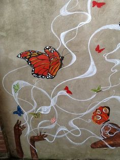 Outdoor wall mural, North London Women's Hostel, 2013; detail.