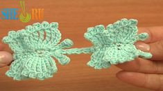 Crochet Butterfly Cord Tutorial 57 How to Crochet Butterflies  http://sheruknitting.com/videos-about-knitting/romanian-lace-ribbons-and-cords/item/630-how-to-crochet-butterflies-cord.html  In this crochet video tutorial you will see how to crochet small and large butterfly where the difference is in crocheting wings. Butterflies are connected together with a crochet cord made of chain stitches and double crochet stitches.