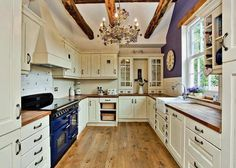 Love this kitchen.minus the electric range (This is exactly how our new kitchen; withough electric range and different accent colors) Kitchen Dinning, New Kitchen, Kitchen White, White Interior Design, Butcher Block Countertops, Home Comforts, Home Hacks, White Cabinets, Detached House
