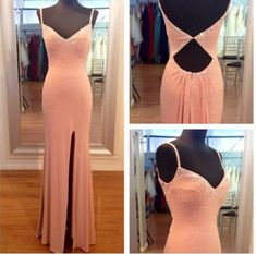 New Arrival Prom Dress,Modest Prom Dress,2018 High Slit Prom Dress,Mermaid Prom Dress,Pink Evening Dress,Cut Out Long Evening Dress,V neckline Party Dress with Beaded MT20180054