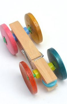 Clothes Pin Race Car Craft Idea For Kids / http://belladia.typepad.com