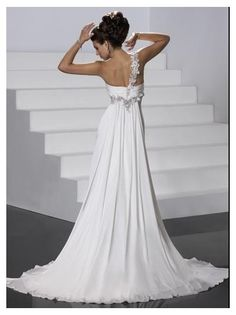 one shoulder wedding dress | Home > One-Shoulder Wedding dress Custom-made Bridal dress Wn009
