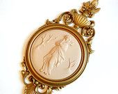 Ladies Cameo Bas Relief Plaque, Dart Ind 4056B, Mid-Century Classical Mythical Wall Hanging, Gold Tan Art