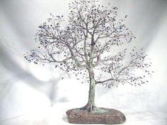 Copper wire tree - Bonsai style - Art sculpture - natural rock - recycled material - Wabi sabi - Broom style Bonsai (Hokidachi)