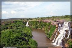 Ethipothala Falls is a 70 foot (21 m) high waterfall of the river, located in Guntur district, Andhra Pradesh, India. The waterfall is a combination of three components namely Chandravanka vagu, Nakkala vagu and Tummala vagu. The river then joined the Krishna river after the dam after about 3 km (1.9 mi) from the Falls. There Ranganatha and Dattatreya temples in the vicinity. There is a crocodile breeding center in the lake formed by the waterfall.
