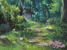 Ghibli Scenery backgrounds - The Secret World of Arrietty Art Studio Ghibli, Secret World Of Arrietty, The Secret World, Hayao Miyazaki, Fantasy Landscape, Landscape Art, Ghibli Movies, Animation Background, Studio Ghibli Background