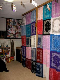 Unconfined: Dorm Room Inspiration. Use a bunch of bandanas in colors you like and sew them together (mom will help) then use these to give you a curtain under your lofted bed to hide your crap or just give your futon some privacy.